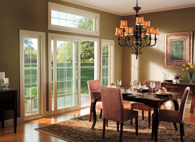 pella 350 series sliding patio door almond trim sidelights and transom